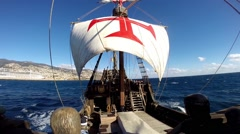 Open sail sailing with Santa Maria de Colombo sailing boat - stock footage