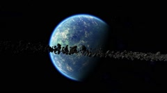 Cloudy planet surrounded by asteroid ring 01 Stock Footage