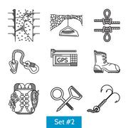 Black vector icons for rock climbing accessories - stock illustration