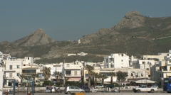 Greece, Naxos, Mountains Tower Above Town Stock Footage
