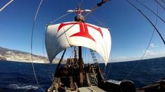 Santa Maria de Colombo classic sailing boat tour Stock Footage