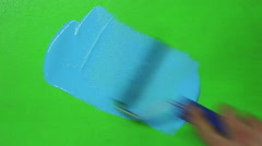 Renovation the wall paint. Green to blue Stock Footage