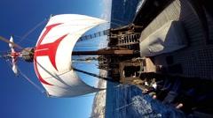 Vertical shot Santa Maria de Colombo classic sailing boat tour Stock Footage