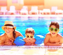 happy family in aquapark - stock photo