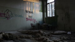 Abandoned school: students dormitory Stock Footage