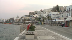 Greece, Naxos, Street by Water Stock Footage