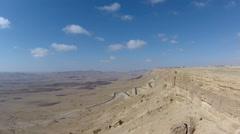 aerial view of Mitzpe Ramon Crater in negev desert, Israel. - stock footage