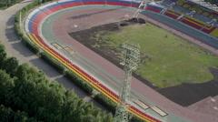 Aerial Shot repair the stadium 2 UHD 4K Stock Footage