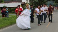 "Woman dancing with the beautiful Panamanian ""pollera"" dress Stock Footage"
