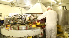 Worker in cheese factory Stock Footage