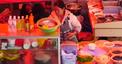 4k Woman salad of fresh vegetables,roadside snack bar cooking. Stock Footage
