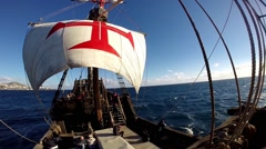Santa Maria de Colombo classic sailing boat tour panning Stock Footage