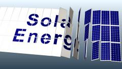 Solar Panel plant with title for presentation, 3rd angle HD_PAL Stock Footage