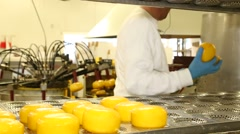 Cheese factory worker Stock Footage