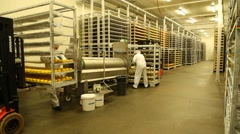 Stacking hard cheese on the shelves Stock Footage