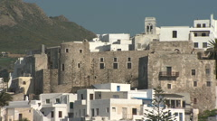 Greece, Naxos, Whitewashed and Nat Stone Buildings and Hills Stock Footage