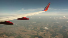 Stock Video Footage of flight, window seat view, farms, southwest, pov