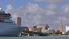 Royal caribbean cruise ship and downtown miami 4k Stock Footage