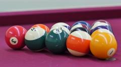 Breaking pool balls 4k video Stock Footage