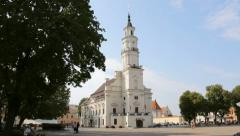 The Town Hall of Kaunas in the middle of Town Hall Square, summer day Stock Footage