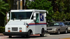 USPS postal truck in Miami Beach 4k Stock Footage
