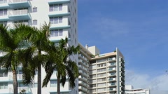 Miami buildings and palms 4k video Stock Footage