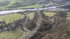 Elevated view of Motorway junction near River Tay Scotland Stock Footage
