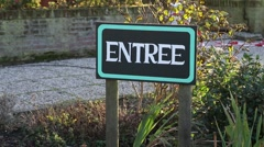 Entry sign in front of the cheese farm in Holland Stock Footage