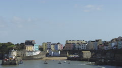 Tenby Harbour, Wales, wide shot 4k Stock Footage