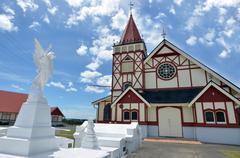 st faith's anglican church in rotorua - new zealand - stock photo
