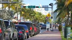 Ocean drive miami beach sidewalk Stock Footage