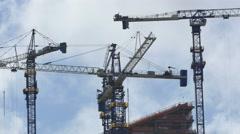 Construction cranes brickell city center 4k Stock Footage