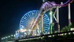 4K Time Lapse of Pacific Wheel at Santa Monica Pier at Night -Full Frame- Stock Footage