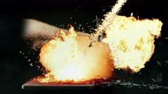 2896 Punching a Laptop Out of Anger with Fireballs, 4K - stock footage
