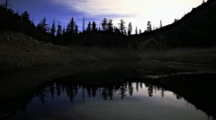 Stock Video Footage of Astrophotography Time Lapse of Stars over Reflective Alpine Lake -Tilt Up-