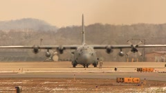 Cargo aircraft ready to take off from the base Stock Footage
