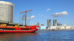 Tokyo Bay and the historical boat, Japan - stock footage
