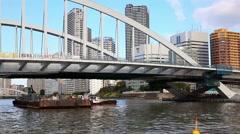Tokyo Bay, bridge and SkyTree TV tower, Japan - stock footage