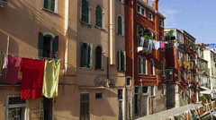 Laundry Hangs from Clotheslines Canals of Venice, Italy 4K Stock Video Footage Stock Footage