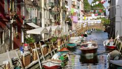 A Boat Driving Down Canal Venice Italy 4K Stock Video Footage Stock Footage