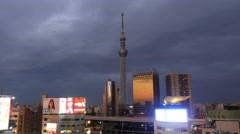 Time Lapse of Skytree Entertainment Tower & Skyline at Night - Tokyo Japan Stock Footage
