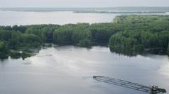 Aerial shot sunken boat between islands 2 UHD 4K Stock Footage