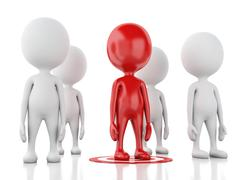 Stock Illustration of 3d red man on target. business leadership success concept