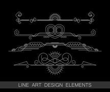 vector set of line art border elements for design - stock illustration