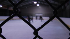 Unique view of outdoor hockey game Stock Footage