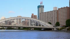 Tokyo Bay, bridge and SkyTree TV tower, Japan Stock Footage