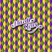 Stock Illustration of vector illustration of Mardi Gras or Shrove Tuesday lettering label on checkered