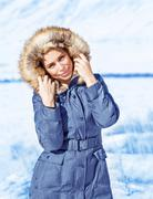 fashionable wintertime style - stock photo