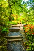 path through a colorful garden at the national arboretum in washington, dc. - stock photo
