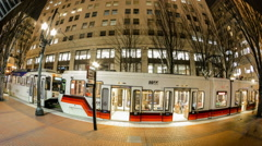 Downtown Portland Oregon Transit Time Lapse Stock Footage